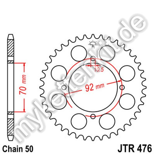 Kettenrad JTR476 Stahl
