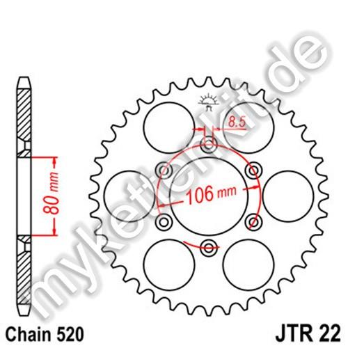 Kettenrad JTR22 Stahl