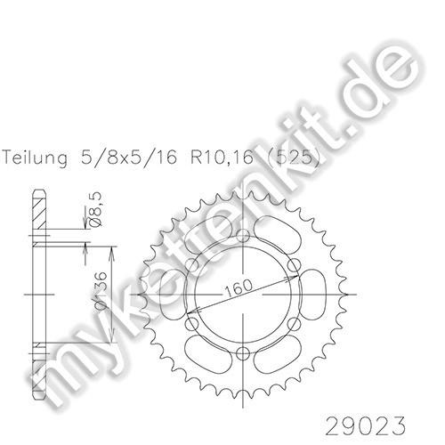 Kettenrad K50-29023 Stahl