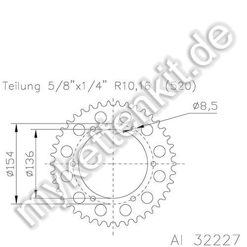 Kettenrad K51-32227 Alu