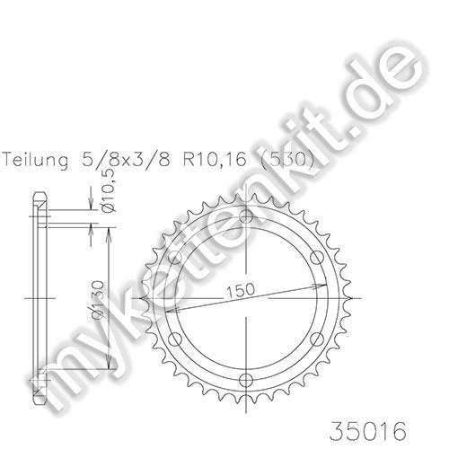 Kettenrad K50-35016 Stahl