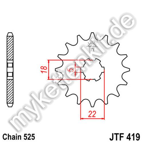 Ritzel 14 Z Teilung 525 F1537-14