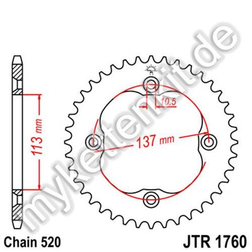 Kettenrad JTR1760 Stahl