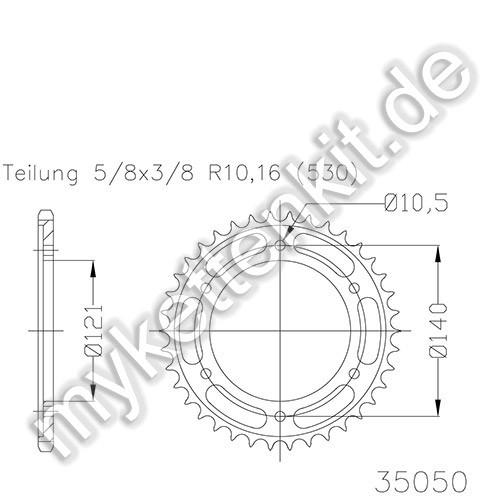 Kettenrad K50-35050 Stahl