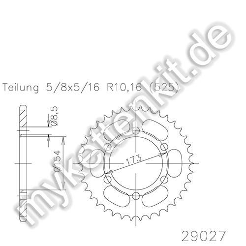 Kettenrad K50-29027 Stahl