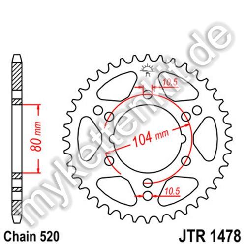 Kettenrad JTR1478 Stahl
