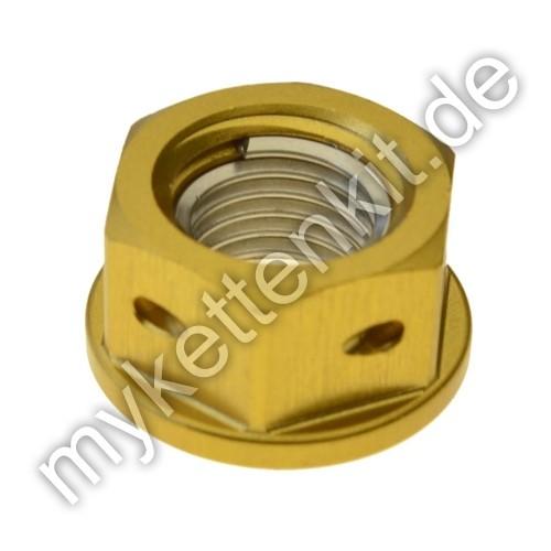 Befestigungsmutter Racing M8x1.25mm Alu gold