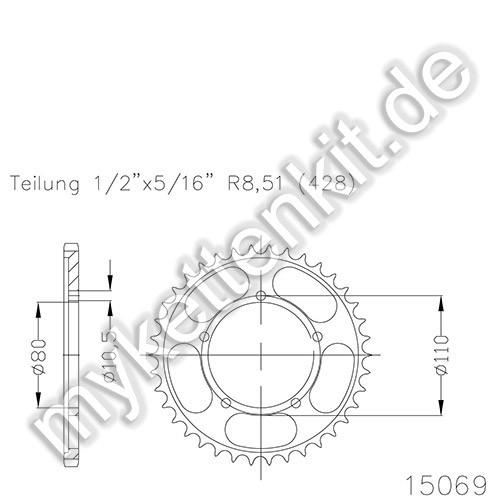 Kettenrad K50-15069 Stahl