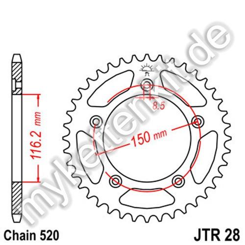 Kettenrad JTR28 Stahl