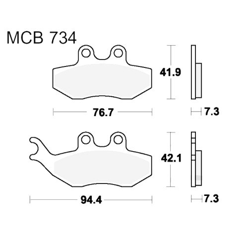 Bremsklotz Standard TRW MCB734 (1 Satz)