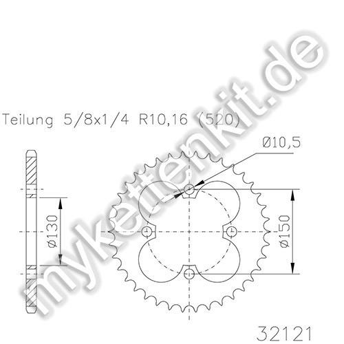 Kettenrad K50-32121 Stahl