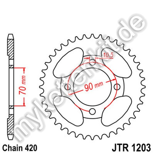 Kettenrad JTR1203 Stahl