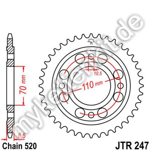 Kettenrad JTR247 Stahl