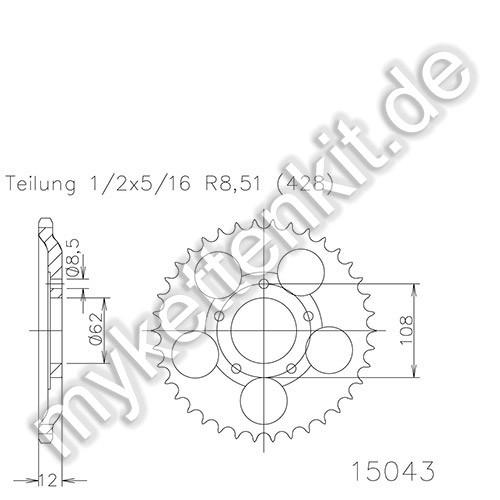Kettenrad K50-15043 Stahl
