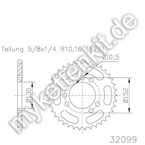 Kettenrad K50-32099 Stahl