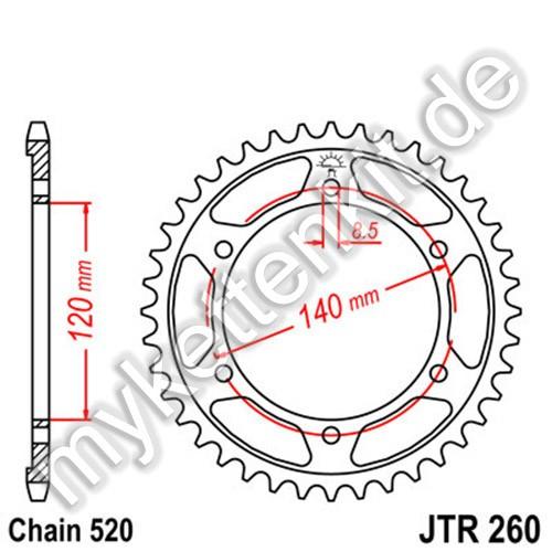 Kettenrad JTR260 Stahl