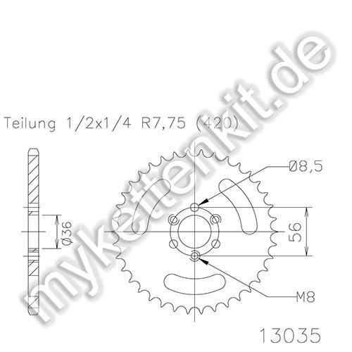 Kettenrad K50-13035 Stahl