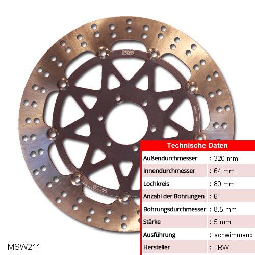 Bremsscheibe schwimmend TRW MSW211 (1 Stück)