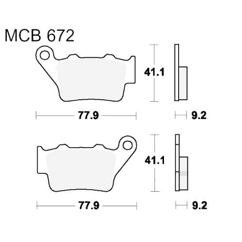 Bremsklotz Sinter hinten TRW MCB672SH (1 Satz)