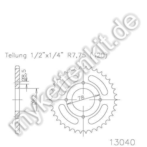 Kettenrad K50-13040 Stahl