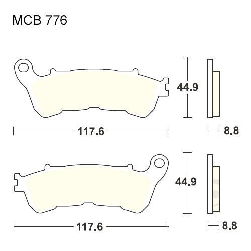 Bremsklotz Sinter vorne TRW MCB776SV (1 Satz)