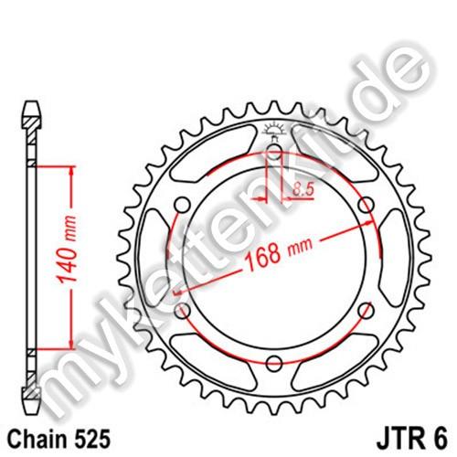 Kettenrad JTR6 Stahl